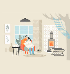 couple sitting in a chair and drinking tea vector image