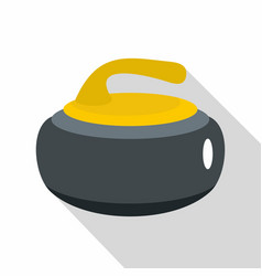 Curling stone with yellow handle icon flat style vector