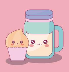 cute beverage jar and cupcake kawaii characters vector image