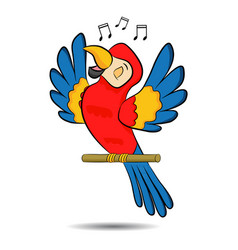 cute cartoon three colored parrot sing song on a vector image