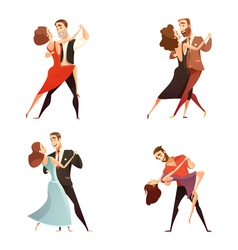 Dance Pair Retro Cartoon Set vector
