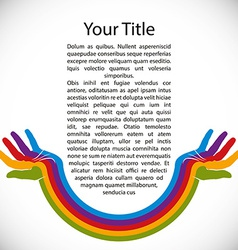 Design background with rainbow painted hands vector image