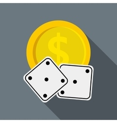 Dices and casino chip icon flat style vector image vector image