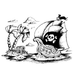 Drawing of pirate ship 1 vector