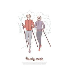 elderly couple on stroll fitness sport exercise vector image