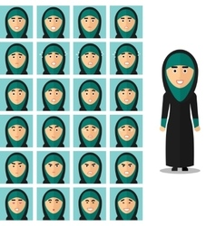 Face emotions of arab woman set in flat vector