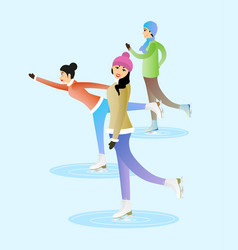 female and male characters are skating on ice vector image