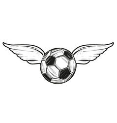 Football soccer ball with wings icon sketch vector