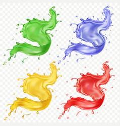fruit juice set colored paint splashes set vector image