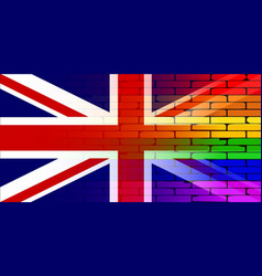 Gay rainbow wall union jack vector