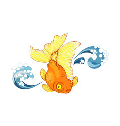 goldfish and wave vector image