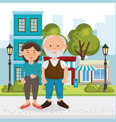 grandfather with daughter characters vector image