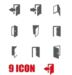 grey door icon set vector image