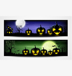 halloween night banners with scary pumpkins vector image