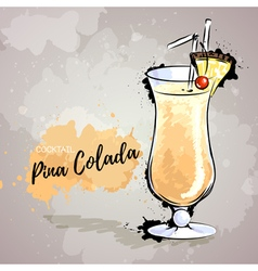 Hand drawn cocktail pina colada vector