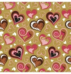 Hand drawn doodle seamless pattern of hearts Pink vector