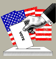 Hand putting voting paper in the ballot box on vector
