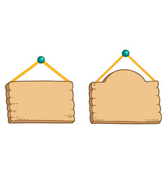 Hanging wooden signs vector