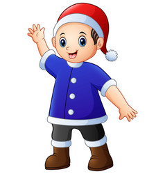 happy boy in blue santa claus costume and xmas red vector image