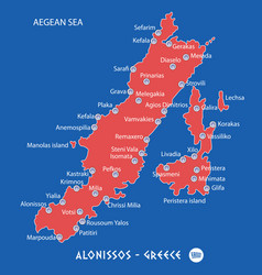 Island of alonissos in greece red map vector