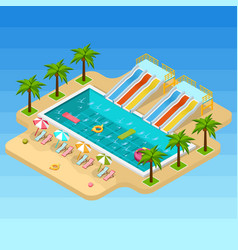 Isometric aqua park composition vector