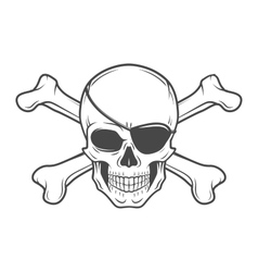 Jolly Roger with eyepatch and crossbones logo vector