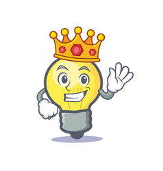 King light bulb character cartoon vector