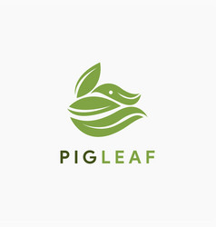 Leaf and pig logo icon template vector