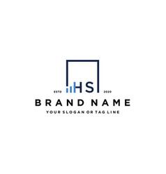 Letter hs square logo finance design vector