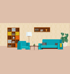 Living room with turquoise sofa and armchair vector