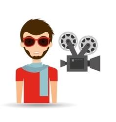 Man hipster concept movie cinema camera icon vector