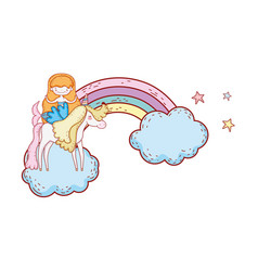 mermaid with unicorn and rainbow in clouds vector image