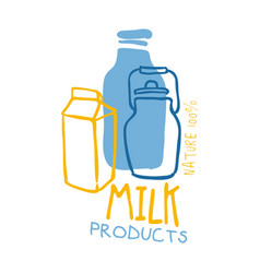 milk products logo symbol colorful hand drawn vector image