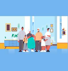 multi generation family happy grandparents parents vector image
