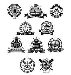 Nautical and marine isolated heraldic badge set vector