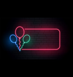 neon balloons banner with text space vector image
