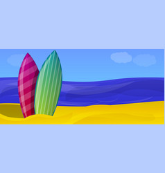 ocean surfing day concept banner cartoon style vector image