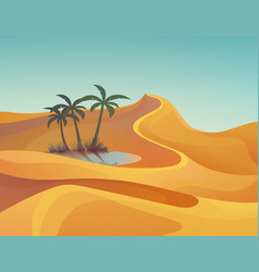 Panorama or landscape desert with oasis vector
