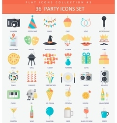 Party Flat icon set Elegant style design vector image