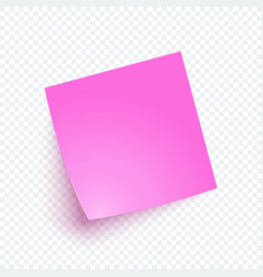 Pink note paper with shadow sticker note for vector