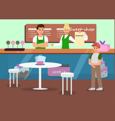 professional service in sweet shop promo banner vector image