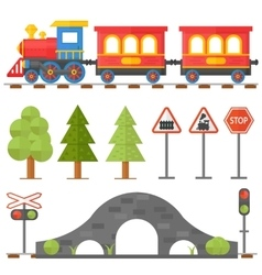 Railway design concept set with station steward vector image