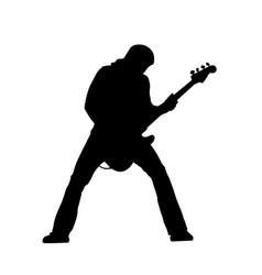 rock guitarist on concert silhouette vector image
