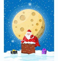 santa claus with bag with gifts in house chimney vector image