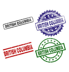 Scratched textured british columbia seal stamps vector