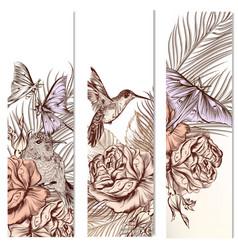 set floral hand drawn brochures vector image