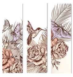 set of floral hand drawn brochures vector image