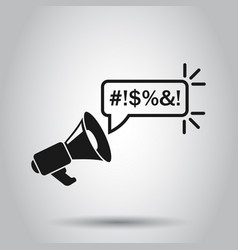 Shout speech bubble with megaphone icon in flat vector