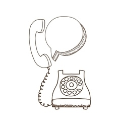 Silhouette antoque phone with oval callout vector
