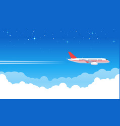 sky aircraft airplane flying in blue sky flight vector image